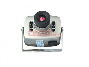 Mini Surveillance Security AV Camera with 6-LED Night Vision (DC 9V)